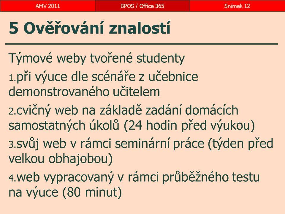 5 Ověřování znalostí Týmové weby tvořené studenty 1. při výuce dle scénáře z učebnice demonstrovaného učitelem 2. cvičný web na základě zadání domácíc