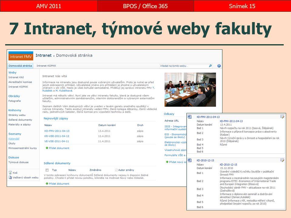 7 Intranet, týmové weby fakulty BPOS / Office 365Snímek 15AMV 2011