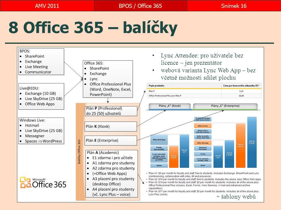 8 Office 365 – balíčky BPOS / Office 365Snímek 16AMV 2011 Lync Attendee: pro uživatele bez licence – jen prezentátor webová varianta Lync Web App – bez včetně možnosti sdílet plochu + šablony webů