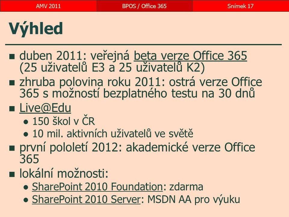 Výhled duben 2011: veřejná beta verze Office 365 (25 uživatelů E3 a 25 uživatelů K2)beta verze Office 365 zhruba polovina roku 2011: ostrá verze Office 365 s možností bezplatného testu na 30 dnů Live@Edu 150 škol v ČR 10 mil.