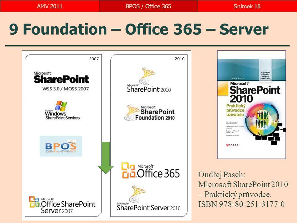 9 Foundation – Office 365 – Server BPOS / Office 365Snímek 18AMV 2011 Ondřej Pasch: Microsoft SharePoint 2010 – Praktický průvodce. ISBN 978-80-251-31