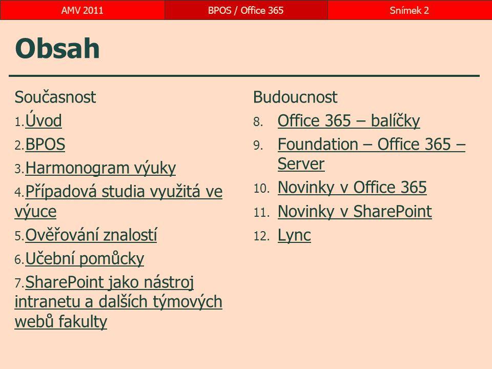 BPOS / Office 365Snímek 2AMV 2011 Obsah Současnost 1. Úvod Úvod 2. BPOS BPOS 3. Harmonogram výuky Harmonogram výuky 4. Případová studia využitá ve výu