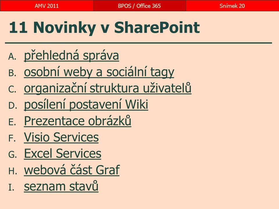 11 Novinky v SharePoint A. přehledná správa přehledná správa B. osobní weby a sociální tagy osobní weby a sociální tagy C. organizační struktura uživa