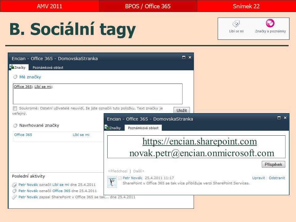 B. Sociální tagy BPOS / Office 365Snímek 22AMV 2011 https://encian.sharepoint.com novak.petr@encian.onmicrosoft.com