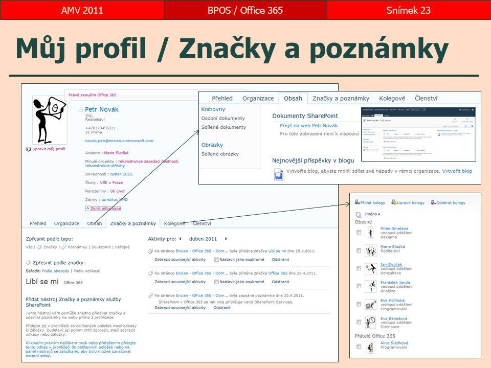 Můj profil / Značky a poznámky BPOS / Office 365Snímek 23AMV 2011