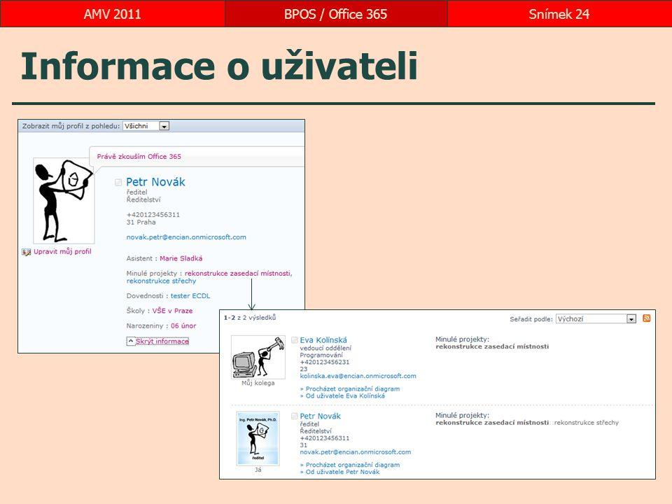 Informace o uživateli BPOS / Office 365Snímek 24AMV 2011