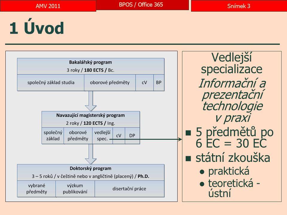 1 Úvod Vedlejší specializace Informační a prezentační technologie v praxi 5 předmětů po 6 EC = 30 EC státní zkouška praktická teoretická - ústní BPOS / Office 365 Snímek 3AMV 2011
