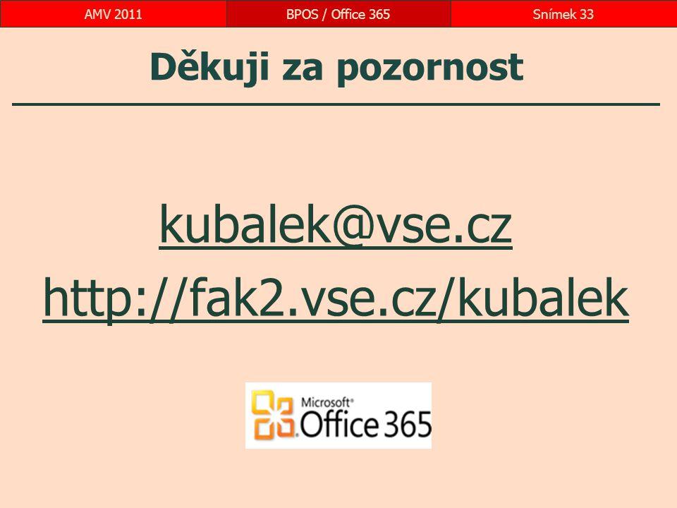 Děkuji za pozornost kubalek@vse.cz http://fak2.vse.cz/kubalek BPOS / Office 365Snímek 33AMV 2011