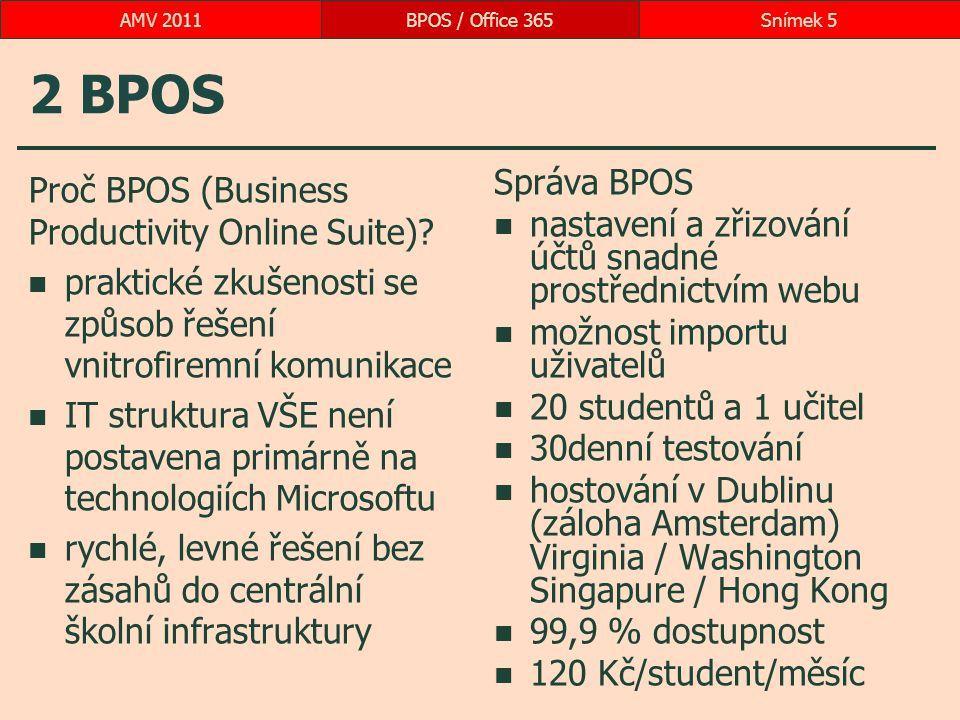 2 BPOS Proč BPOS (Business Productivity Online Suite)? praktické zkušenosti se způsob řešení vnitrofiremní komunikace IT struktura VŠE není postavena