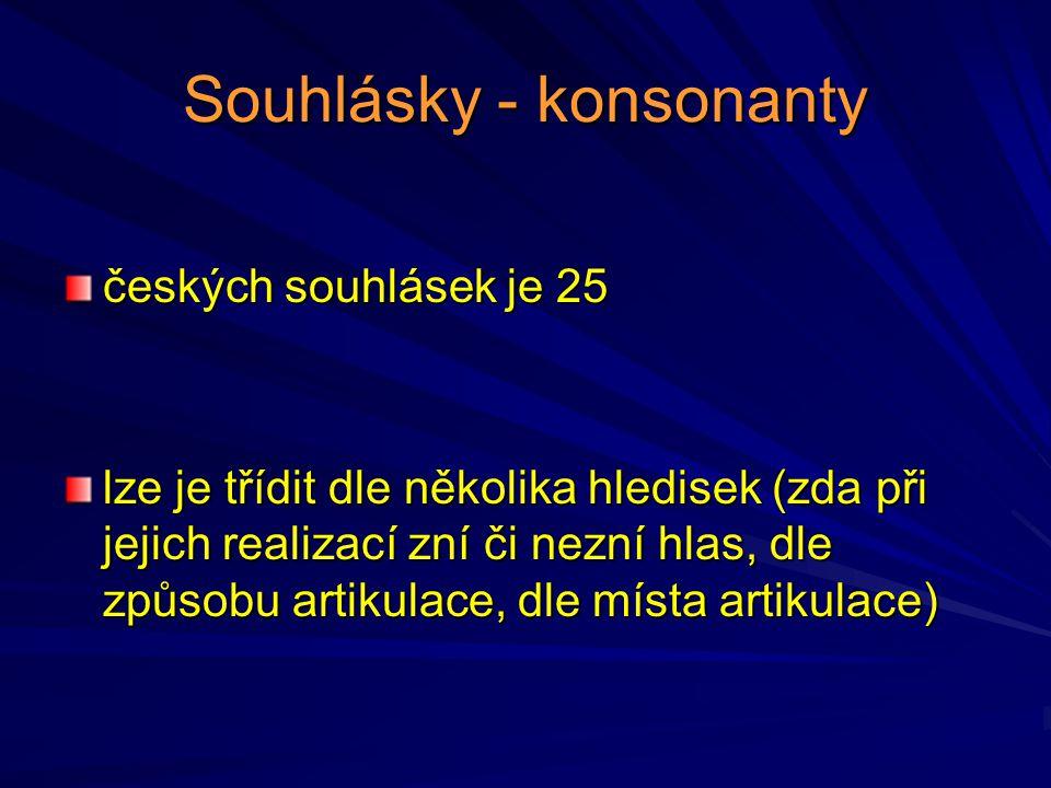Souhlásky - konsonanty českých souhlásek je 25 lze je třídit dle několika hledisek (zda při jejich realizací zní či nezní hlas, dle způsobu artikulace