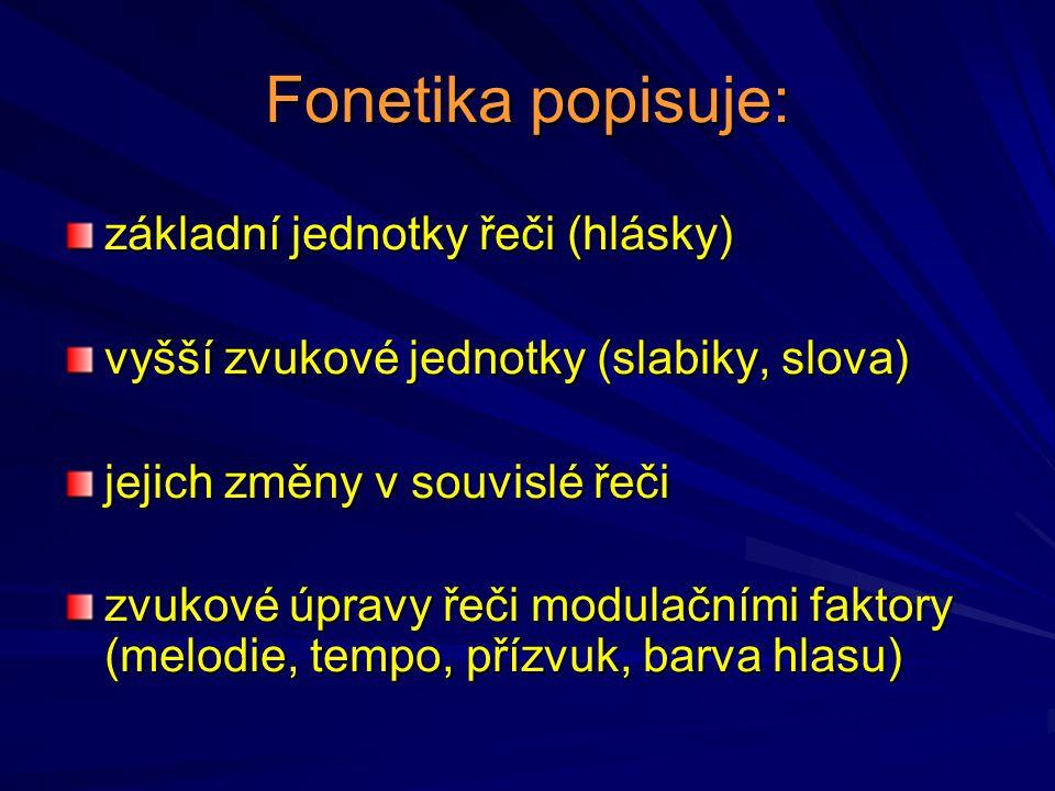 Fonetika popisuje: základní jednotky řeči (hlásky) vyšší zvukové jednotky (slabiky, slova) jejich změny v souvislé řeči zvukové úpravy řeči modulačním