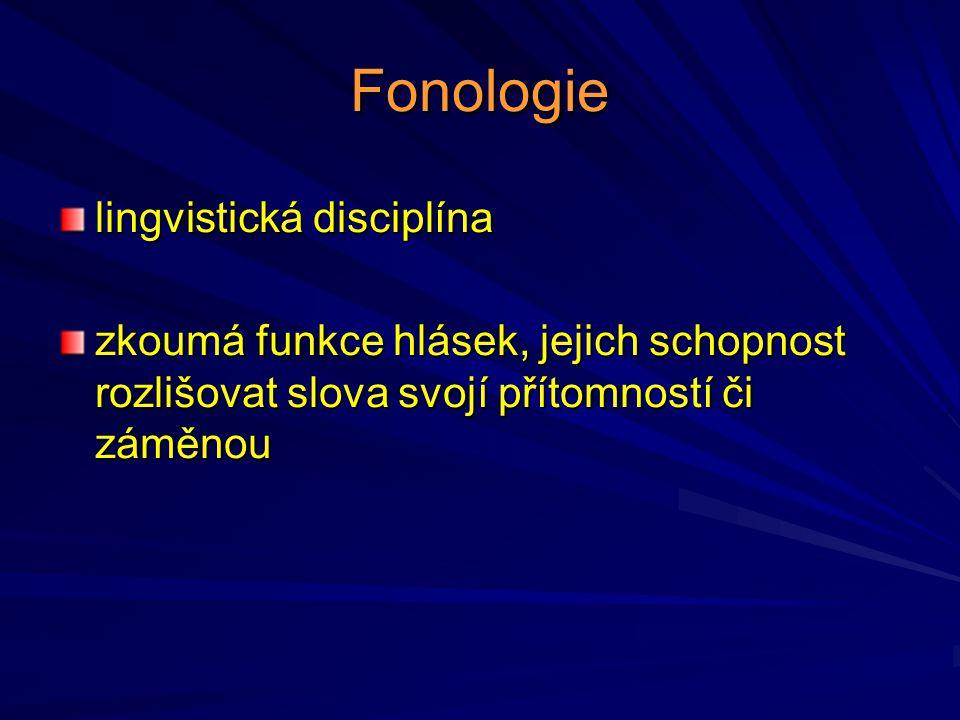 Fonologie lingvistická disciplína zkoumá funkce hlásek, jejich schopnost rozlišovat slova svojí přítomností či záměnou