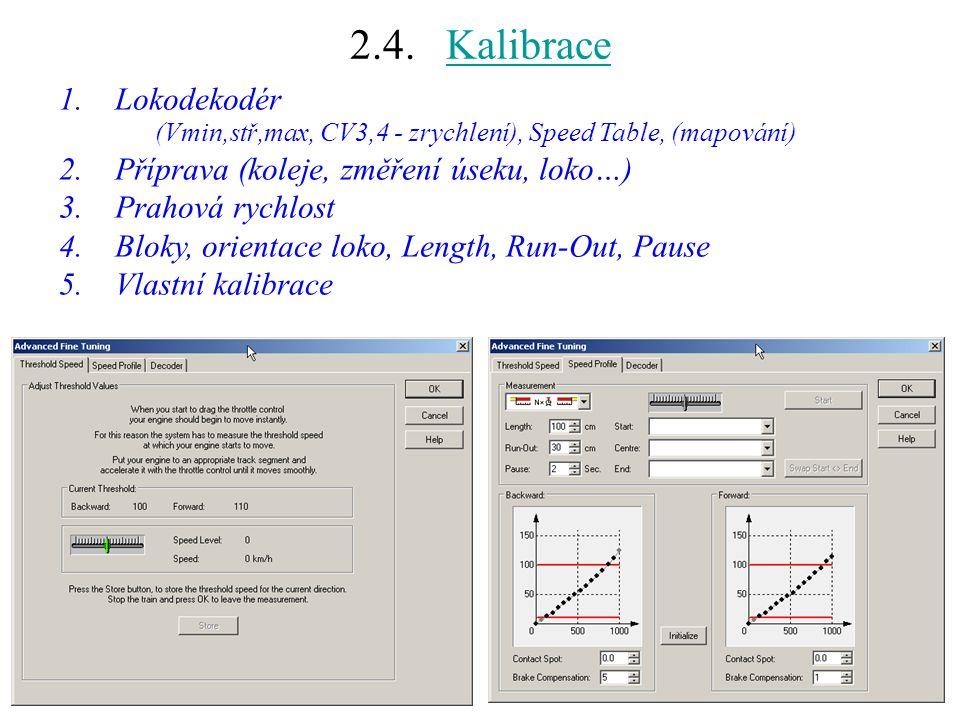2.4. KalibraceKalibrace 1.Lokodekodér (Vmin,stř,max, CV3,4 - zrychlení), Speed Table, (mapování) 2.Příprava (koleje, změření úseku, loko…) 3.Prahová r