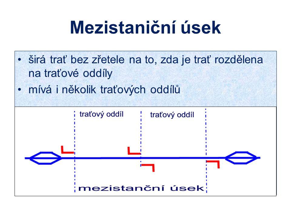 Mezistaniční úsek širá trať bez zřetele na to, zda je trať rozdělena na traťové oddíly mívá i několik traťových oddílů