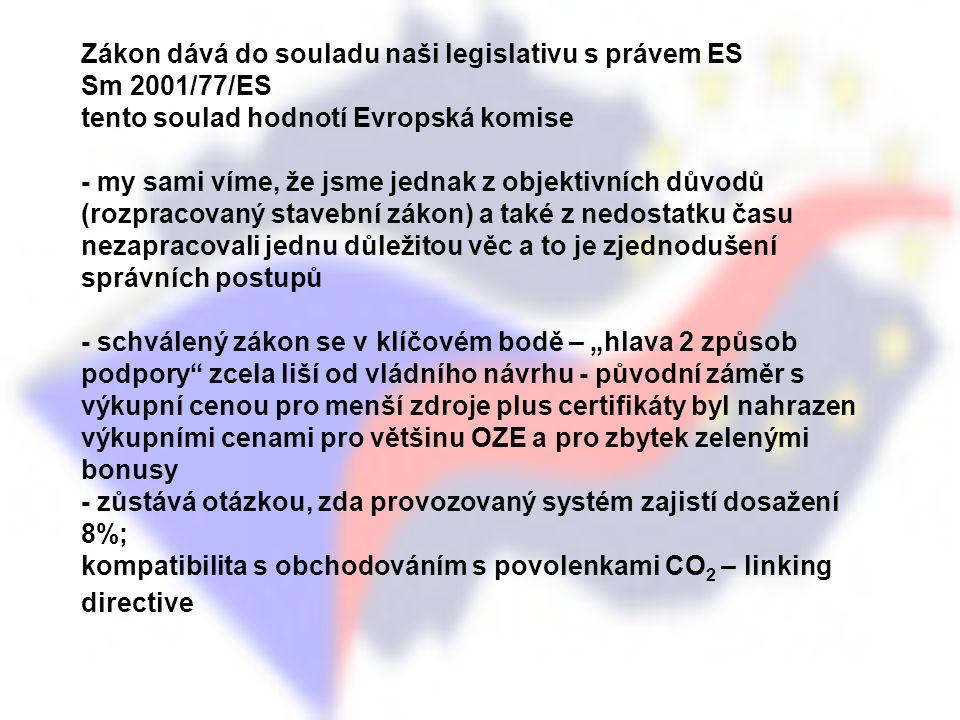 Zákon dává do souladu naši legislativu s právem ES Sm 2001/77/ES tento soulad hodnotí Evropská komise - my sami víme, že jsme jednak z objektivních dů