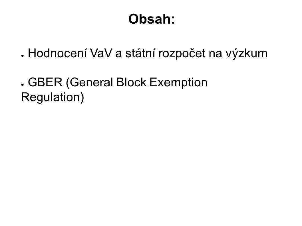 Obsah: ● Hodnocení VaV a státní rozpočet na výzkum ● GBER (General Block Exemption Regulation)