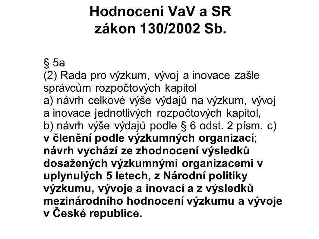 Hodnocení VaV a SR zákon 130/2002 Sb.