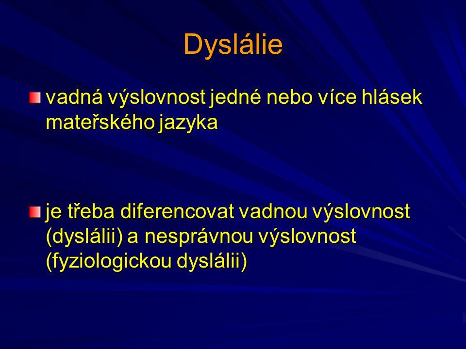 Klasifikace dyslálie – vývojové hledisko: fyziologická dyslálie (do 5 let) prodloužená fyziologická dyslálie (nesprávná výslovnost přetrvává mezi 5-7 rokem) pravá dyslálie (po 7 roce)