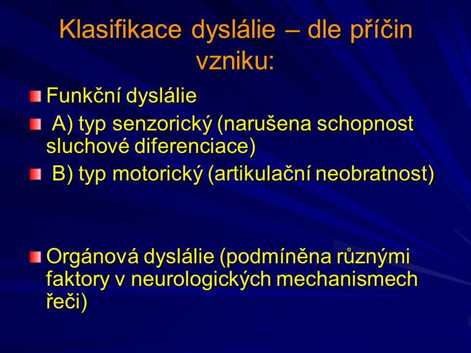 Klasifikace dyslálie – dle příčin vzniku: Funkční dyslálie A) typ senzorický (narušena schopnost sluchové diferenciace) A) typ senzorický (narušena sc