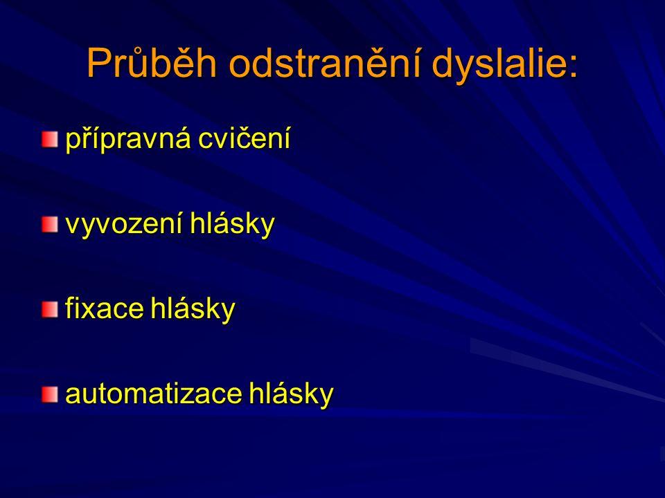 Přibližné pořadí vyvozování hlásek: samohlásky A,E,I,O,U, dvojhlásky OU,AU souhlásky nosové M a retné B,P retozubné F,V nosové N a dásňové D,T měkkopatrové K,G,CH, hrtanové H tvrdopatrové J,Ň,Ď,Ť (BĚ,PĚ,VĚ,MĚ) dásňové sykavky přední C,S,Z zadní Č,Š,Ž a jejich diferenciace úžinové kmitavé R,Ř
