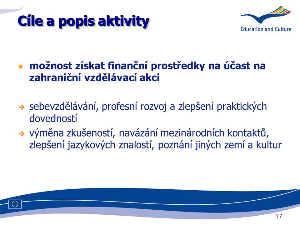 17 Cíle a popis aktivity možnost získat finanční prostředky na účast na zahraniční vzdělávací akci  sebevzdělávání, profesní rozvoj a zlepšení prakti