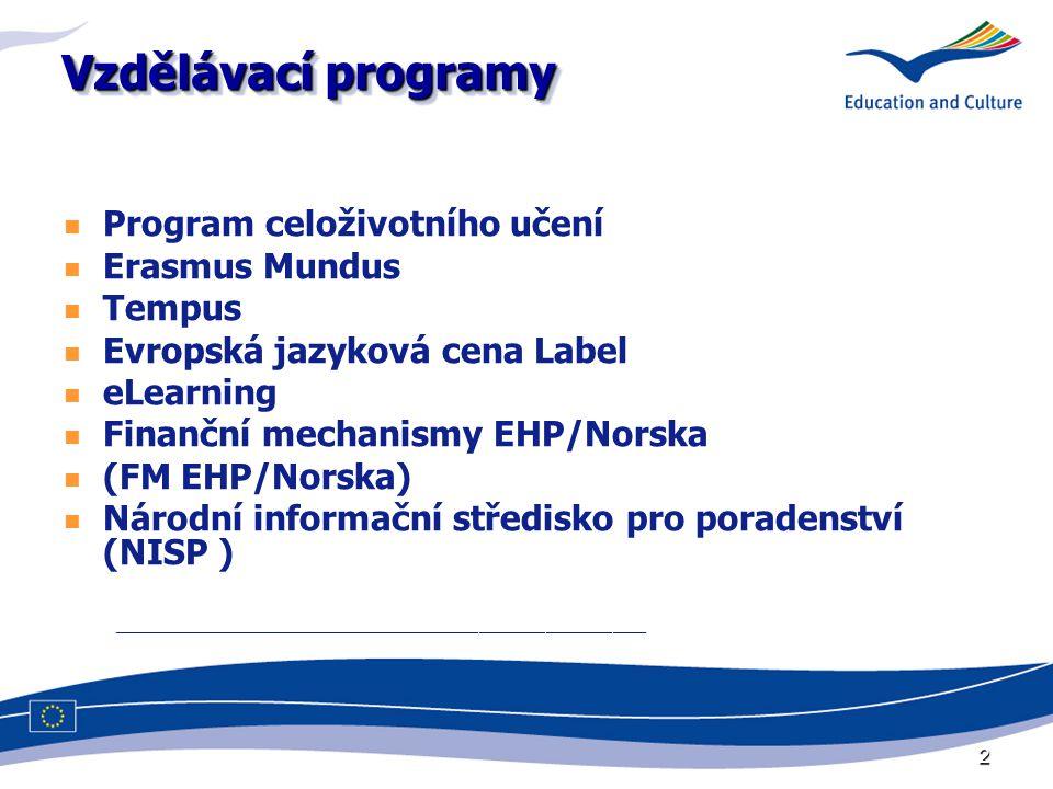 2 Vzdělávací programy Program celoživotního učení Erasmus Mundus Tempus Evropská jazyková cena Label eLearning Finanční mechanismy EHP/Norska (FM EHP/Norska) Národní informační středisko pro poradenství (NISP ) ________________________________________________