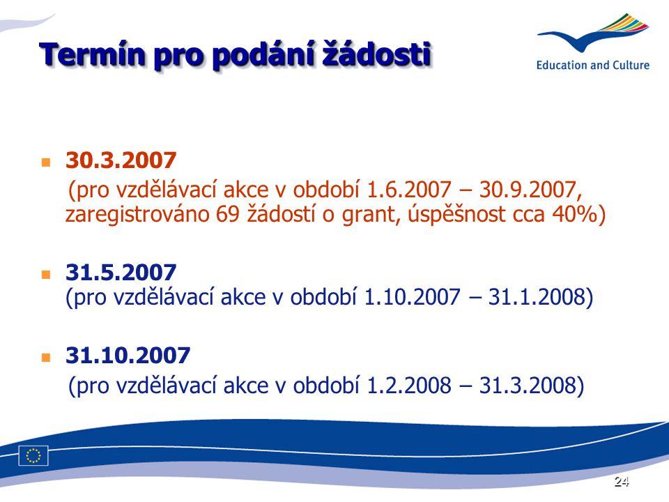 24 Termín pro podání žádosti 30.3.2007 (pro vzdělávací akce v období 1.6.2007 – 30.9.2007, zaregistrováno 69 žádostí o grant, úspěšnost cca 40%) 31.5.2007 (pro vzdělávací akce v období 1.10.2007 – 31.1.2008) 31.10.2007 (pro vzdělávací akce v období 1.2.2008 – 31.3.2008)
