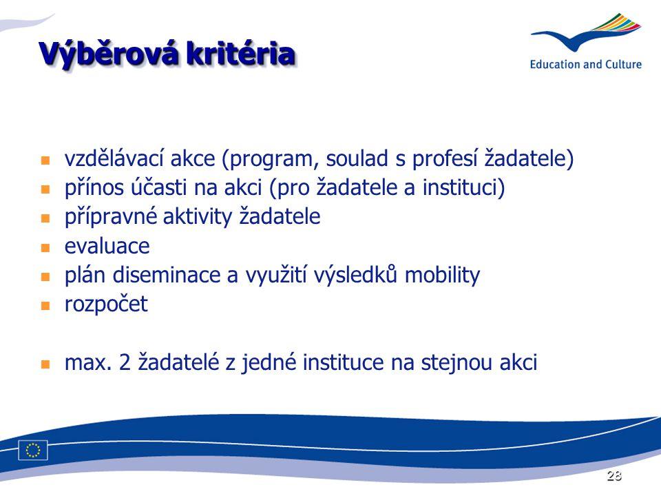28 Výběrová kritéria vzdělávací akce (program, soulad s profesí žadatele) přínos účasti na akci (pro žadatele a instituci) přípravné aktivity žadatele evaluace plán diseminace a využití výsledků mobility rozpočet max.
