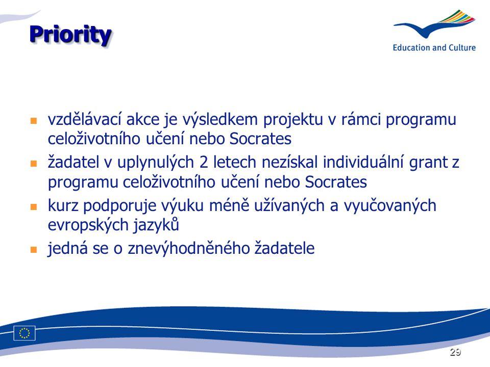 29 PriorityPriority vzdělávací akce je výsledkem projektu v rámci programu celoživotního učení nebo Socrates žadatel v uplynulých 2 letech nezískal individuální grant z programu celoživotního učení nebo Socrates kurz podporuje výuku méně užívaných a vyučovaných evropských jazyků jedná se o znevýhodněného žadatele