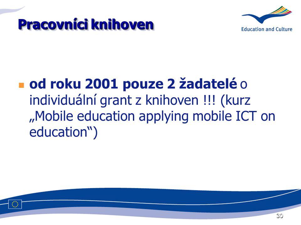 """30 Pracovníci knihoven od roku 2001 pouze 2 žadatelé o individuální grant z knihoven !!! (kurz """"Mobile education applying mobile ICT on education"""")"""