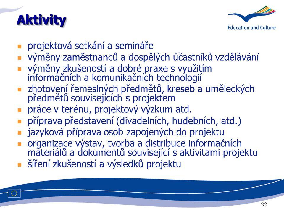 33 AktivityAktivity projektová setkání a semináře výměny zaměstnanců a dospělých účastníků vzdělávání výměny zkušeností a dobré praxe s využitím informačních a komunikačních technologií zhotovení řemeslných předmětů, kreseb a uměleckých předmětů souvisejících s projektem práce v terénu, projektový výzkum atd.