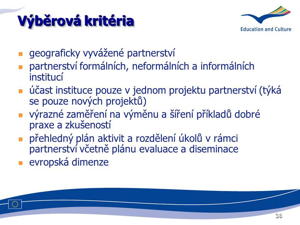 38 Výběrová kritéria geograficky vyvážené partnerství partnerství formálních, neformálních a informálních institucí účast instituce pouze v jednom projektu partnerství (týká se pouze nových projektů) výrazné zaměření na výměnu a šíření příkladů dobré praxe a zkušeností přehledný plán aktivit a rozdělení úkolů v rámci partnerství včetně plánu evaluace a diseminace evropská dimenze