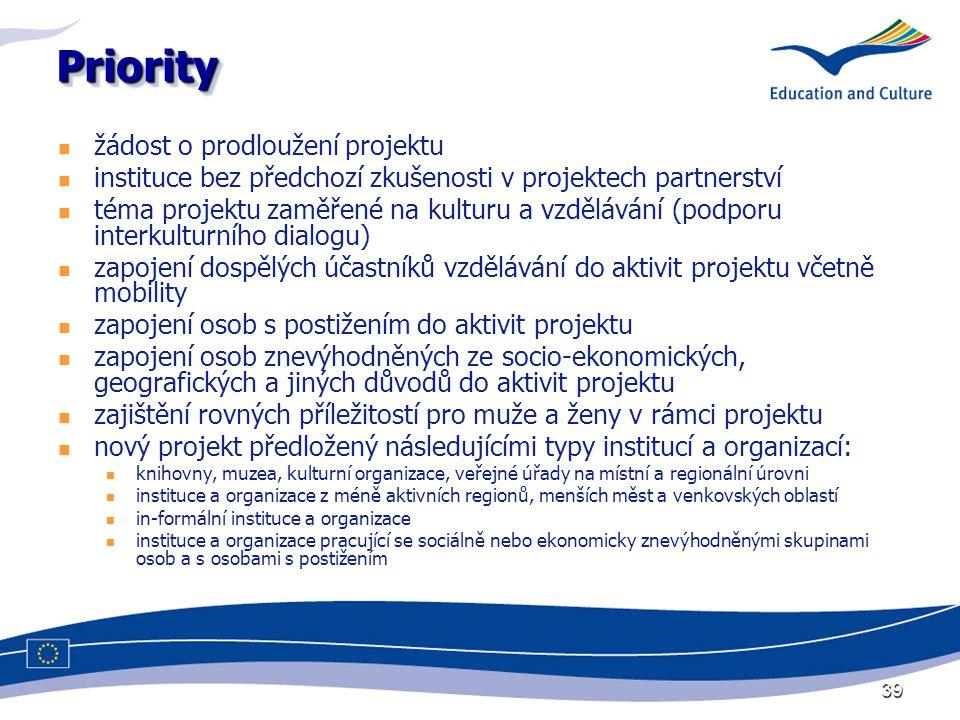39 PriorityPriority žádost o prodloužení projektu instituce bez předchozí zkušenosti v projektech partnerství téma projektu zaměřené na kulturu a vzdělávání (podporu interkulturního dialogu) zapojení dospělých účastníků vzdělávání do aktivit projektu včetně mobility zapojení osob s postižením do aktivit projektu zapojení osob znevýhodněných ze socio-ekonomických, geografických a jiných důvodů do aktivit projektu zajištění rovných příležitostí pro muže a ženy v rámci projektu nový projekt předložený následujícími typy institucí a organizací: knihovny, muzea, kulturní organizace, veřejné úřady na místní a regionální úrovni instituce a organizace z méně aktivních regionů, menších měst a venkovských oblastí in-formální instituce a organizace instituce a organizace pracující se sociálně nebo ekonomicky znevýhodněnými skupinami osob a s osobami s postižením