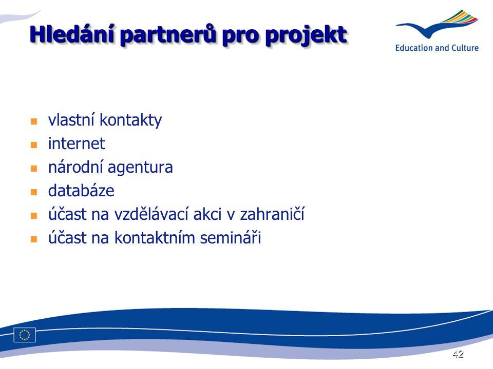 42 Hledání partnerů pro projekt vlastní kontakty internet národní agentura databáze účast na vzdělávací akci v zahraničí účast na kontaktním semináři