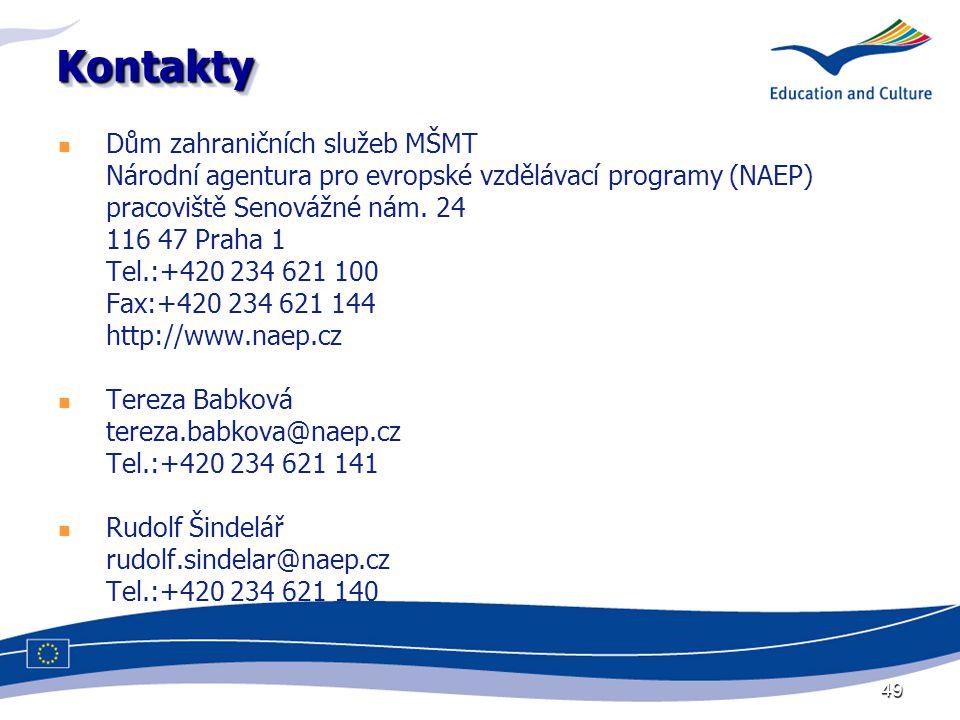 49 KontaktyKontakty Dům zahraničních služeb MŠMT Národní agentura pro evropské vzdělávací programy (NAEP) pracoviště Senovážné nám. 24 116 47 Praha 1