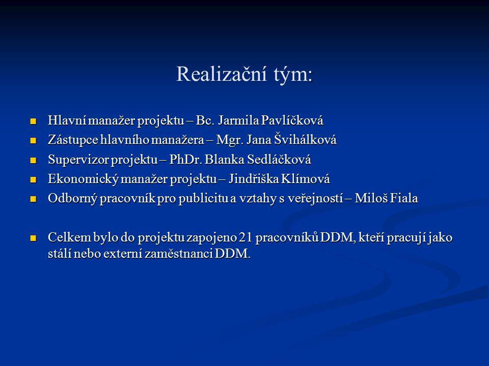 : Realizační tým: Hlavní manažer projektu – Bc. Jarmila Pavlíčková Hlavní manažer projektu – Bc.