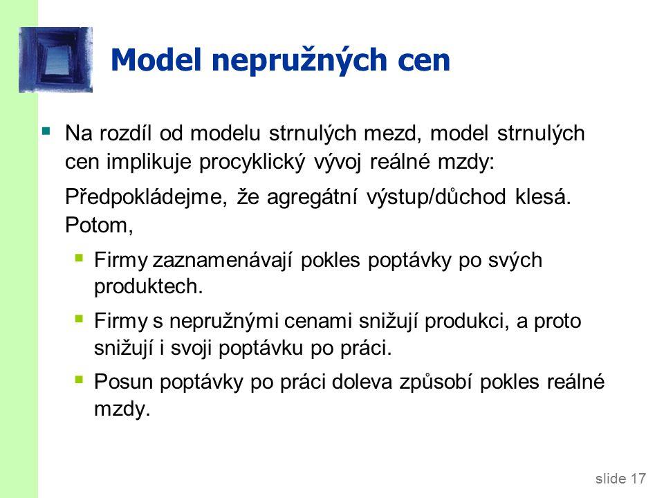 slide 17 Model nepružných cen  Na rozdíl od modelu strnulých mezd, model strnulých cen implikuje procyklický vývoj reálné mzdy: Předpokládejme, že ag