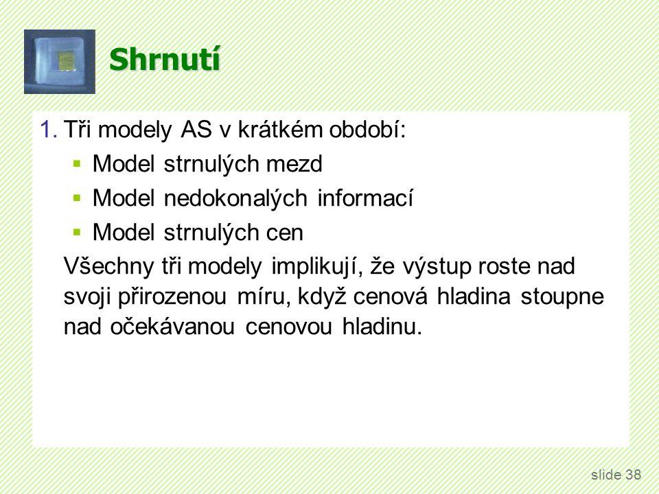 Shrnutí 1.Tři modely AS v krátkém období:  Model strnulých mezd  Model nedokonalých informací  Model strnulých cen Všechny tři modely implikují, že