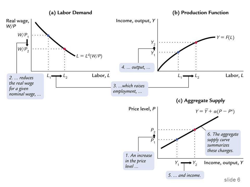 slide 17 Model nepružných cen  Na rozdíl od modelu strnulých mezd, model strnulých cen implikuje procyklický vývoj reálné mzdy: Předpokládejme, že agregátní výstup/důchod klesá.