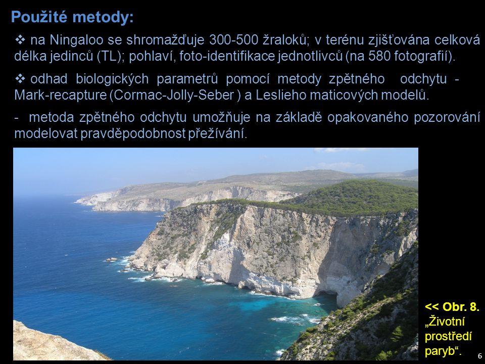 Použité metody: 6 - metoda zpětného odchytu umožňuje na základě opakovaného pozorování modelovat pravděpodobnost přežívání.  odhad biologických param