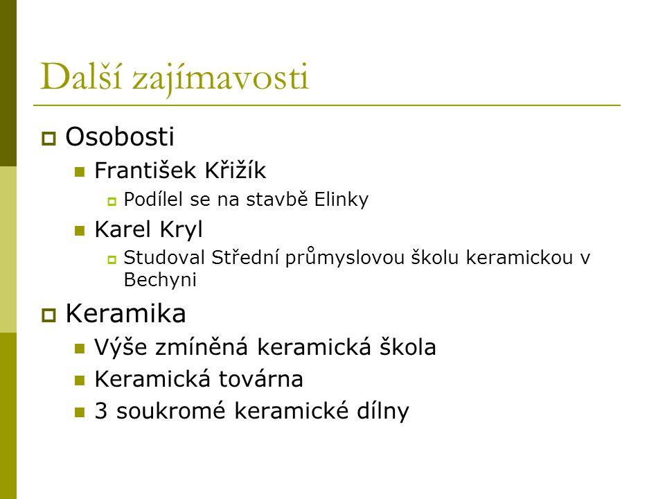 Další zajímavosti  Osobosti František Křižík  Podílel se na stavbě Elinky Karel Kryl  Studoval Střední průmyslovou školu keramickou v Bechyni  Ker