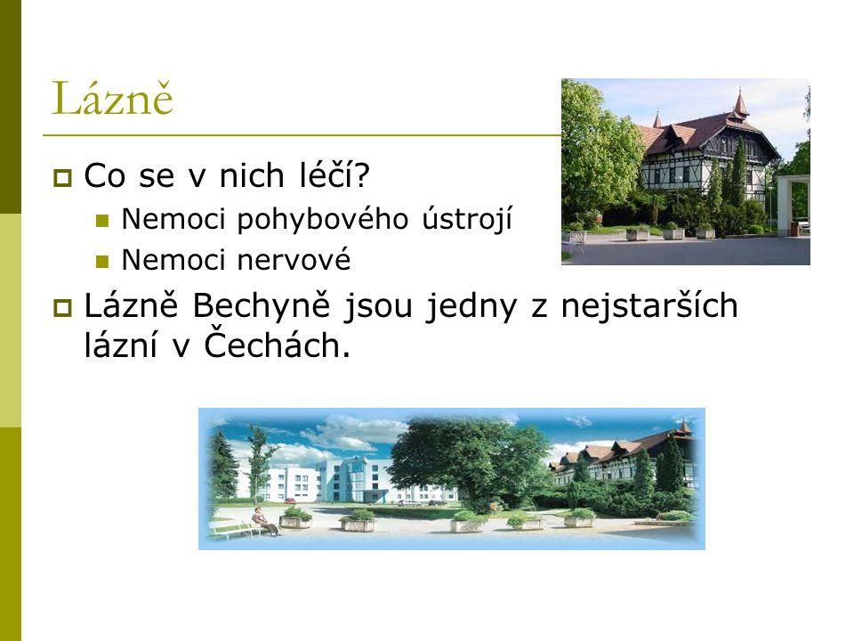 Lázně  Co se v nich léčí? Nemoci pohybového ústrojí Nemoci nervové  Lázně Bechyně jsou jedny z nejstarších lázní v Čechách.