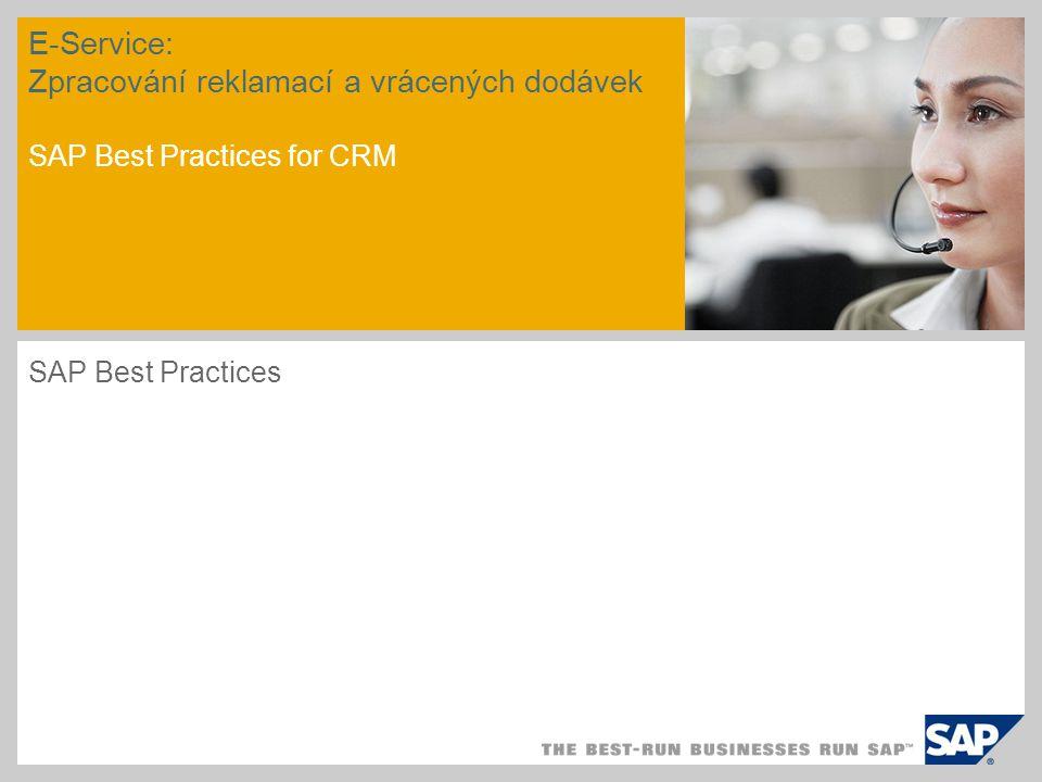 E-Service: Zpracování reklamací a vrácených dodávek SAP Best Practices for CRM SAP Best Practices