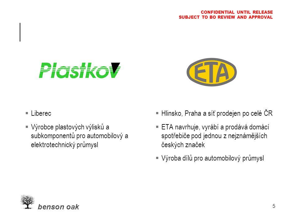benson oak CONFIDENTIAL UNTIL RELEASE SUBJECT TO BO REVIEW AND APPROVAL 5  Liberec  Výrobce plastových výlisků a subkomponentů pro automobilový a elektrotechnický průmysl  Hlinsko, Praha a síť prodejen po celé ČR  ETA navrhuje, vyrábí a prodává domácí spotřebiče pod jednou z nejznámějších českých značek  Výroba dílů pro automobilový průmysl
