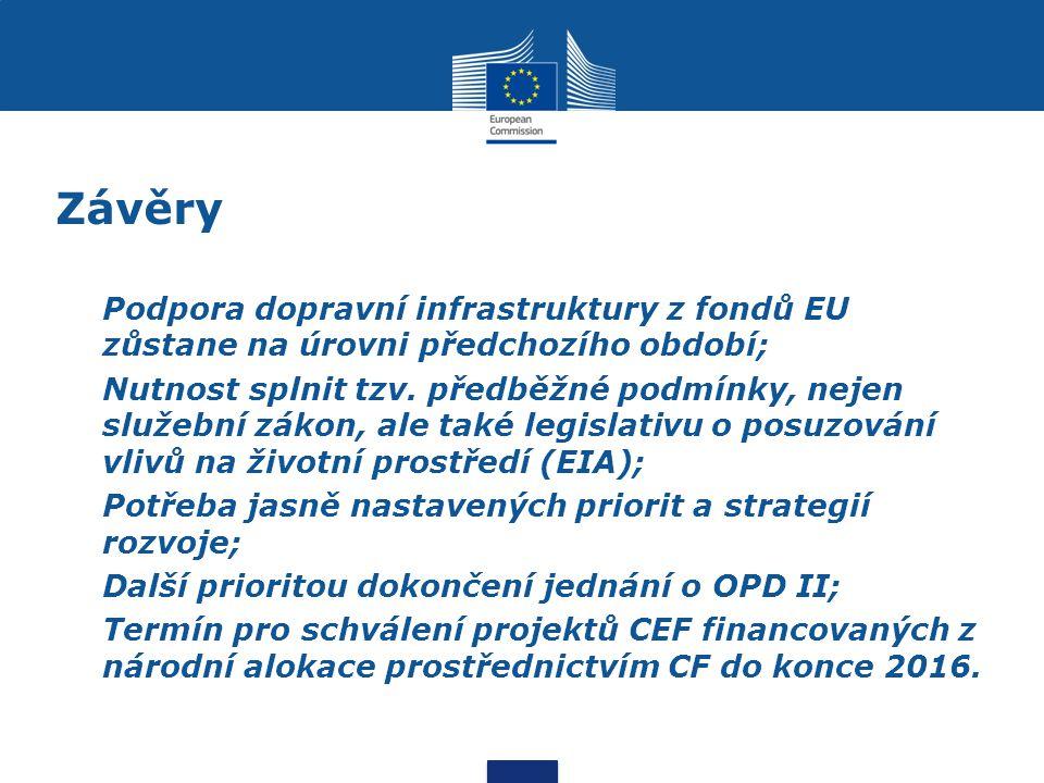 Závěry Podpora dopravní infrastruktury z fondů EU zůstane na úrovni předchozího období; Nutnost splnit tzv. předběžné podmínky, nejen služební zákon,