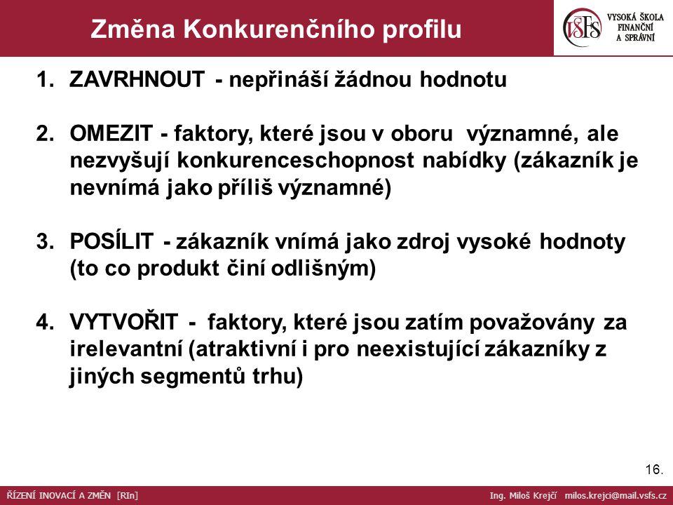 16. Změna Konkurenčního profilu 1.ZAVRHNOUT - nepřináší žádnou hodnotu 2.OMEZIT - faktory, které jsou v oboru významné, ale nezvyšují konkurenceschopn