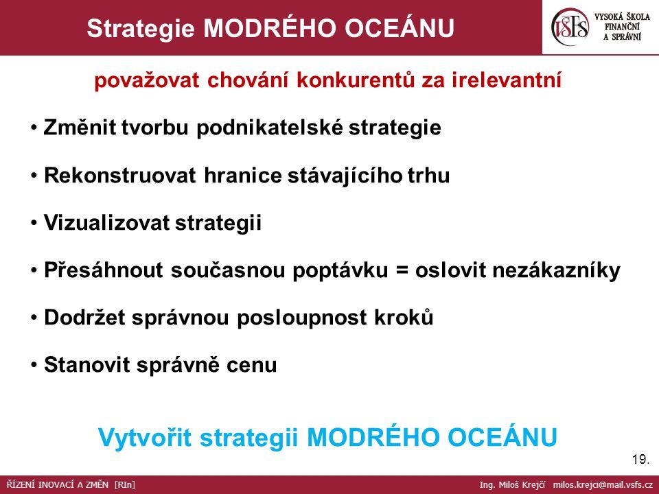 19. Strategie MODRÉHO OCEÁNU považovat chování konkurentů za irelevantní Změnit tvorbu podnikatelské strategie Rekonstruovat hranice stávajícího trhu