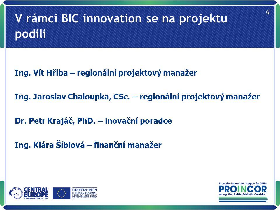 V rámci BIC innovation se na projektu podílí Ing. Vít Hřiba – regionální projektový manažer Ing.