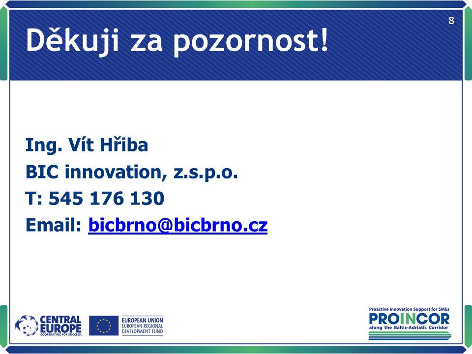 Děkuji za pozornost. Ing. Vít Hřiba BIC innovation, z.s.p.o.