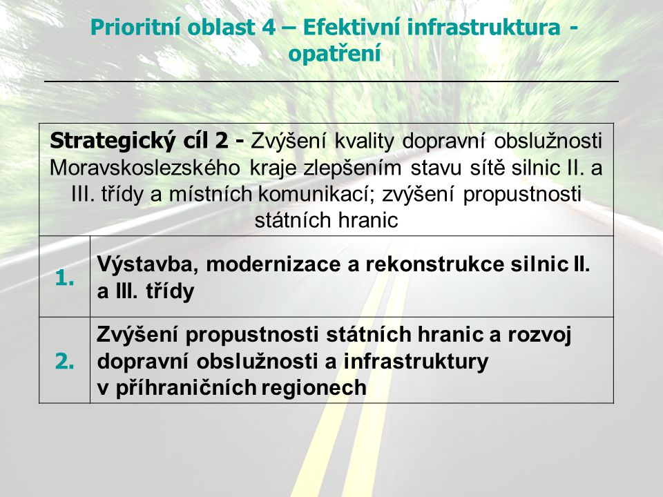 Strategický cíl 2 - Zvýšení kvality dopravní obslužnosti Moravskoslezského kraje zlepšením stavu sítě silnic II. a III. třídy a místních komunikací; z